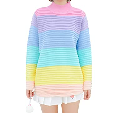 ef625dc47f CRB Fashion Womens Rainbow Pullover Sweater Top (Colorful) at Amazon ...