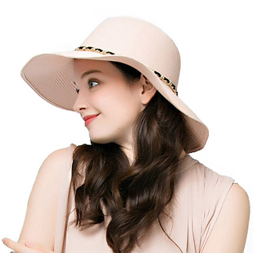 Summer Straw Hats Foldable Lady Sun Wide Brim Floppy Beach with Metal Chain