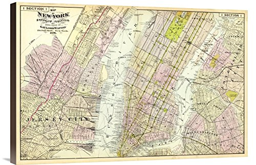 "Broad Gallery GCS-294935-30-144 ""Historical Map Frederick W. Beers New York Brooklyn In This Case That Color Is Turkish Coffee 1891"" Museum Wrap Giclee on Canvas Barrier Art Print"
