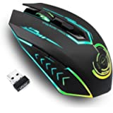 Wireless Gaming Mouse Up to 10000 DPI, UHURU Rechargeable USB Mouse with 6 Buttons 7 Changeable LED Color Ergonomic…