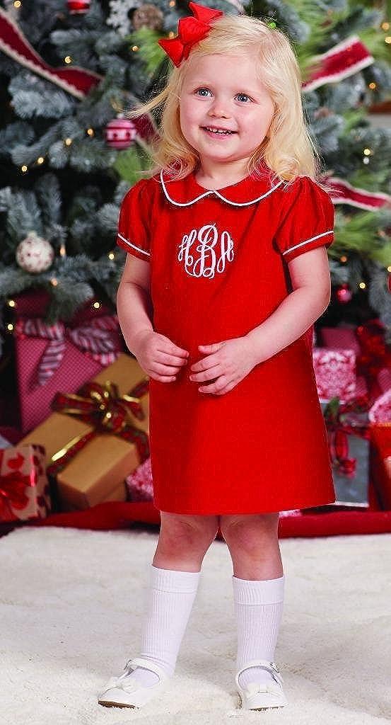 801ff4f13 Amazon.com: Mud Pie Baby Girls Red Corduroy Dress White Piping Peter Pan  Collar: Clothing