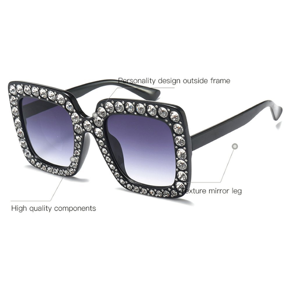 50a6b55f8a79 Amazon.com  MINCL Oversized Diamond s Women Handmade Square Glasses Frame  Eyewear 67mm UV400 (brown  Clothing