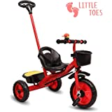 Little Olive Little Toes Baby Tricycle / Kids Trike / Bicycle / Ride On with Parental Adjust Push Bar and Foot Rest | Suitable for Boys & Girls - (1 to 4 Years) (Red)