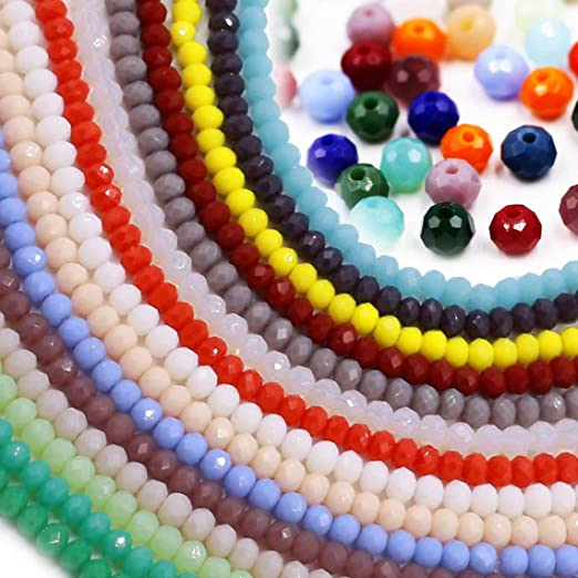 Mixed Color Wholesale Porcelain Crystal Glass Beads Strand Spacer Beads Briolette Round Rondelle Shape Assorted Color with Elastic String for Jewelry Making (15 Colors,2100pcs)