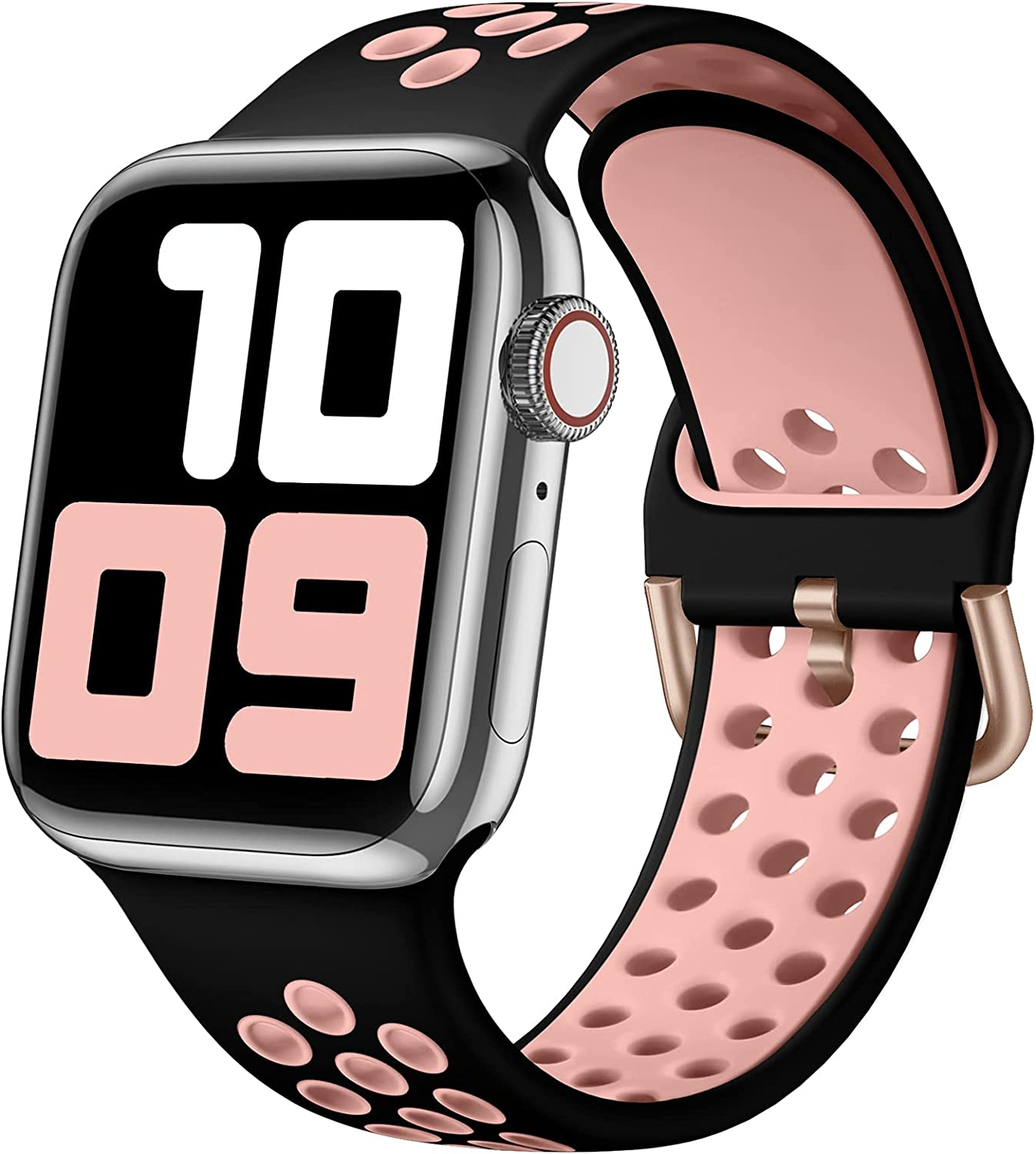 SNBLK Sport Bands Compatible with Apple Watch Bands 40mm 38mm,Soft Breathable Silicone Replacement Strap with Classic Clasp for Women Men for iWatch SE Series 6 5 4 3 2 1,Black/Pink 38/40mm