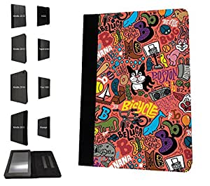 1164 - cute Kids Animal Collage Dinosaur Shark Cat Clown Butterfly Design Amazon Kindle Basic 6'' 2014/2015 Fashion Trend TPU Leather Flip Case Protective Purse Pouch Book Style Defender Stand Cover