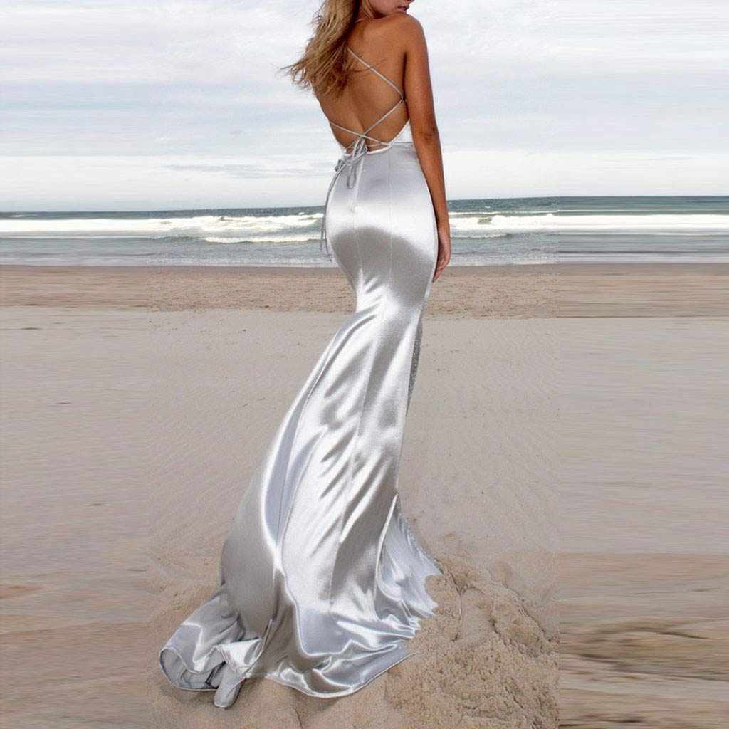 Women Long Beaded Mermaid Evening Bridesmaid Dress Formal Prom Gown Halter Evening Backless Cocktail Dress