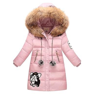 34ef473f292d0 LSERVER-Daunenjacke Kinder Karikatur Hund Winterjacke lang Wintermantel mit  Kapuze Daunenmantel mädchen Junge Baby