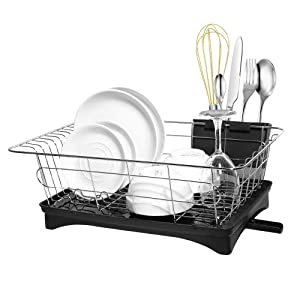 Dish Drying Rack with Drain Board Utensil Holder Small Size Sturdy DrainBoard Set for Kitchen Counter Plate Dishes Drainer Dinnerware Storage Racks Organization Stainless Steel -16.5 x 11 x 6 IN