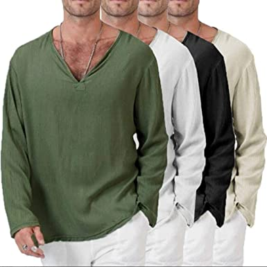 002a1b1b36ad Thai Shirt Men,Overdose Men's Summer T-Shirt Hippie Long Sleeve Shirt V-Neck  Beach Yoga Top Blouse: Amazon.co.uk: Clothing