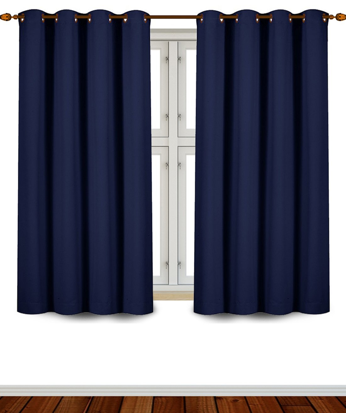 Utopia Bedding Grommet Top Thermal Insulated Blackout Curtains, 2 Panels Navy