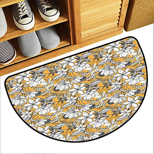8' Natural Hibiscus Island Decor - TableCovers&Home Boots Scraper Mat, Floral Decorative Rugs for Living Room, Hibiscus Plant Exotic Beach Island Theme with Tropical Sea Accents (Marigold White Charcoal Grey, H24 x D36 Semicircle)