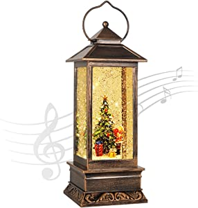 Vintage Outdoor Lantern Decorative with LED Light-8 kinds of Christmas music-Christmas tree LED Tea Light for Christmas Decoration-Tabletop Lanterns Decorative Home Lanterns Battery Powered