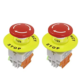 YQBOOM 2pcs 22mm Mounting Hole Latching Emergency Stop Push Button Switch Red With 60mm Emergency Stop Sign 1NO 1NC