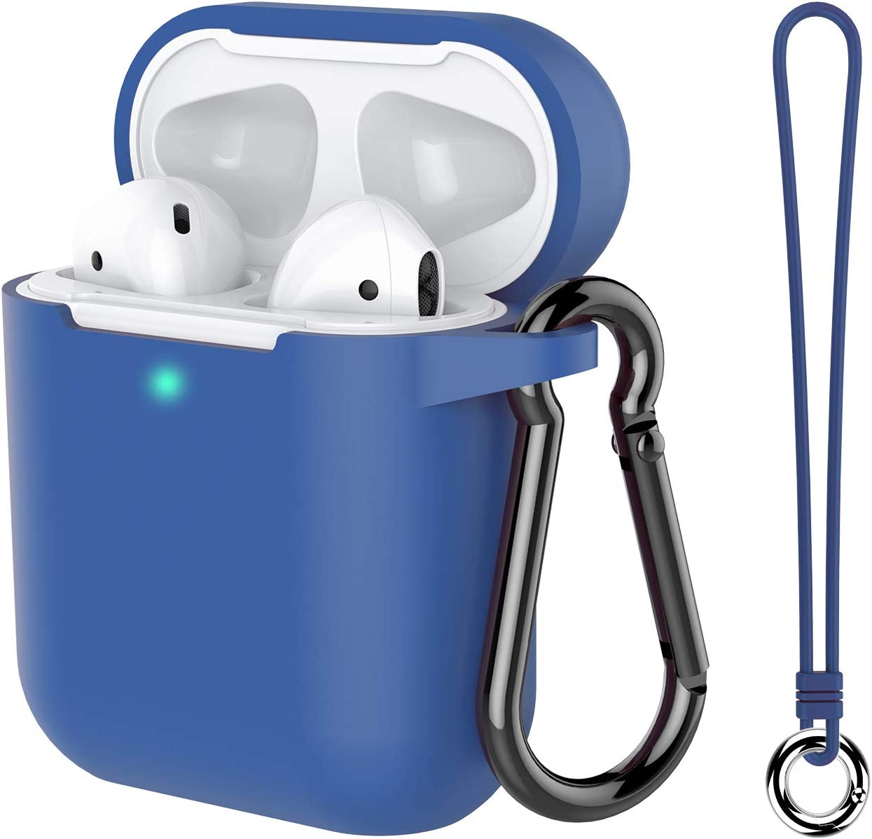 Music tracker Protective Airpods Cover Soft Silicone Chargeable Headphone Case with Anti-Lost Carabiner for Apple Airpods 2 Charging Case Airpods Case Greyish Blue