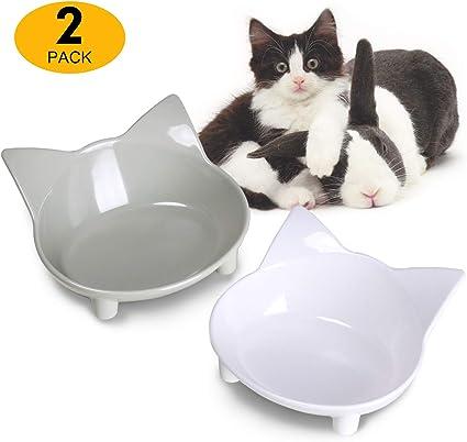 Cat Kitten Bowl Food Water Pet Dishes Fun Designs Glass Ceramic Plastic Metal