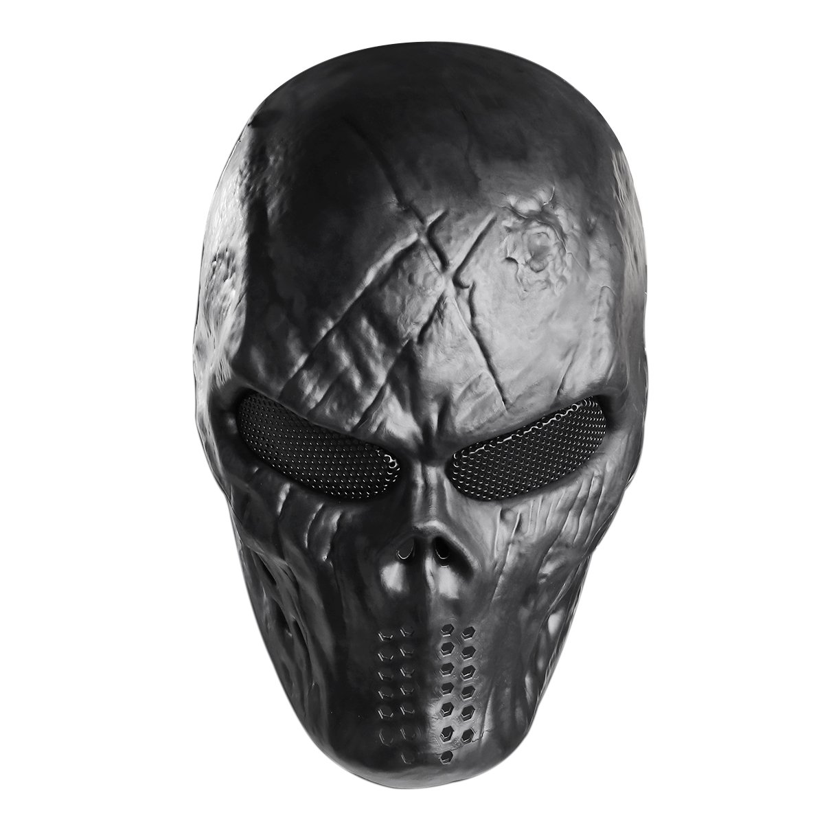 Unomor Halloween Mask Skull Mask Tactical Airsoft Mask with Metal Mesh Eyes Protection - Black