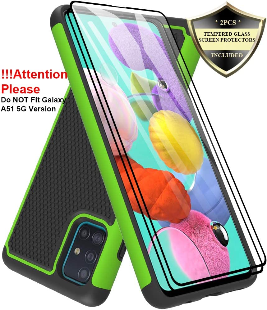 Dahkoiz Galaxy A51 Case with Tempered Glass Screen Protector [2 Pack], Armor Defender Cover Samsung Galaxy A51 Case Dual Layer Hybrid Protective Phone Case for Samsung Galaxy A51 A515, Green