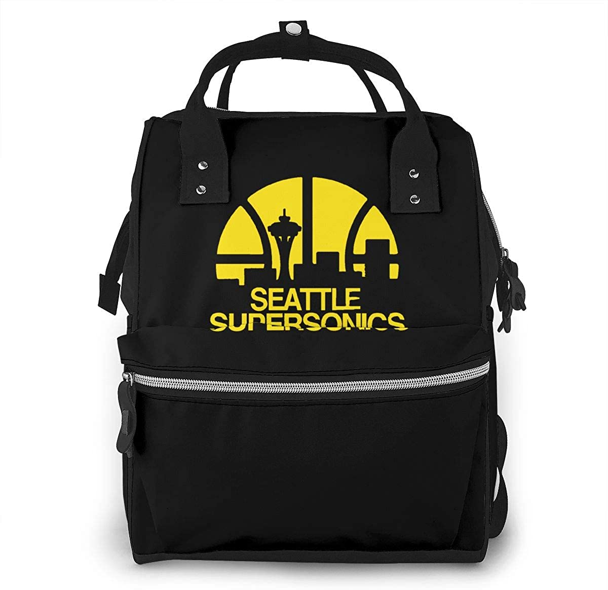 Seattle Supersonics Multi-functional Mummy Bag Diaper Bag Bookbag Backpack Portable For Family Travel