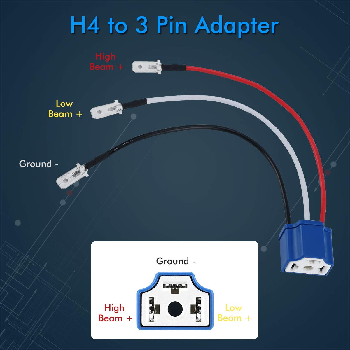 4x6 Led Headlights H4 9003 HB2 Wiring Harness Pair H4 Harness RENMAII-light Ceramic H4 Scoket H4 9003 HB2 Harness H4 Wiring Harness H4 to 3 Pin Adapter Fix Un-Standard H4 Plug Pins