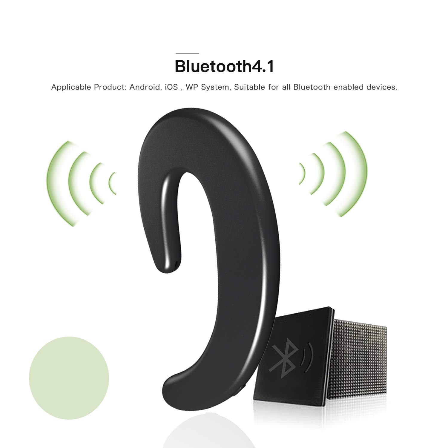 Wireless Bluetooth Earbud Sport Earphone Invisible Single Ear-Hook Bluetooth Headset Earpiece with Mic Noise Cancelling 6-Hour Play Time Business Headphone for Smartphone by AUDIIOO (Image #3)