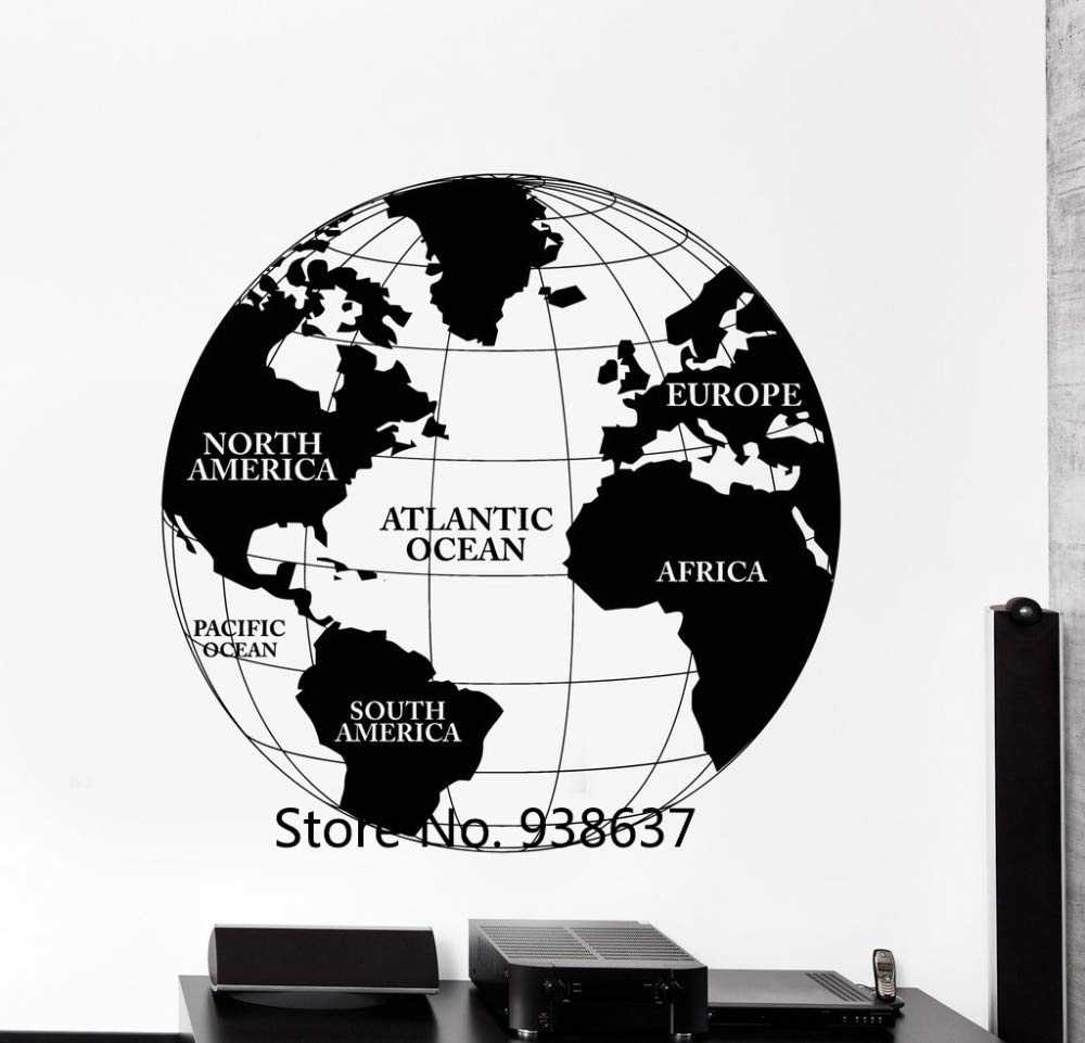 zzlfn3lv Mapa del Mundo Vinilo Tatuajes de Pared Atlas Continentes ...