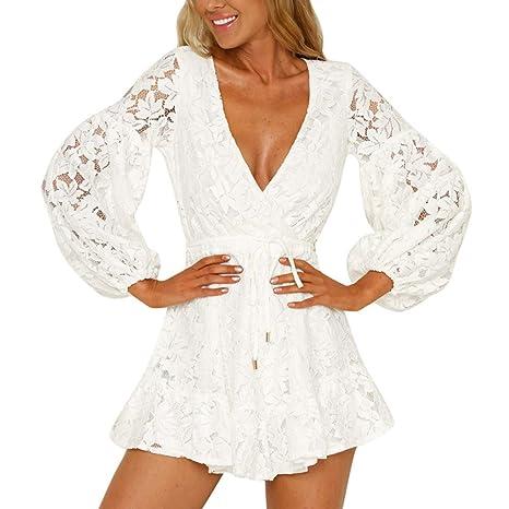 Vestito in Pizzo Donna Elegante Moda Abiti Manica Lunga Autunno Inverno Collo  Rotondo Sciolto Sottile Swing 36ee8dfbee1