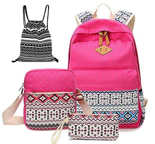 Alando Canvas Dot Backpack Cute Lightweight Teen Girls Backpacks School Shoulder Bags (Rose Red)