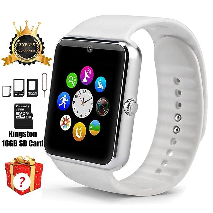Reloj inteligente GT08 con Bluetooth, tarjeta SD de 16 GB ...