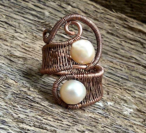 Amazoncom Copper Wire And Peach Pearl Ring Wire Wrapped