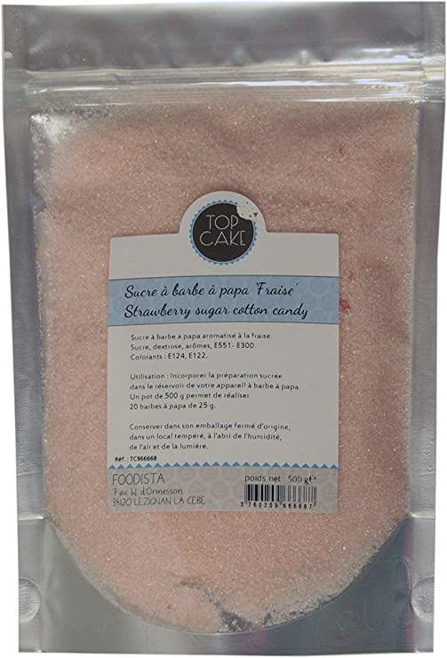 Top Cake Azúcar para algodón de azúcar Sabor Fresa: Amazon.es: Hogar
