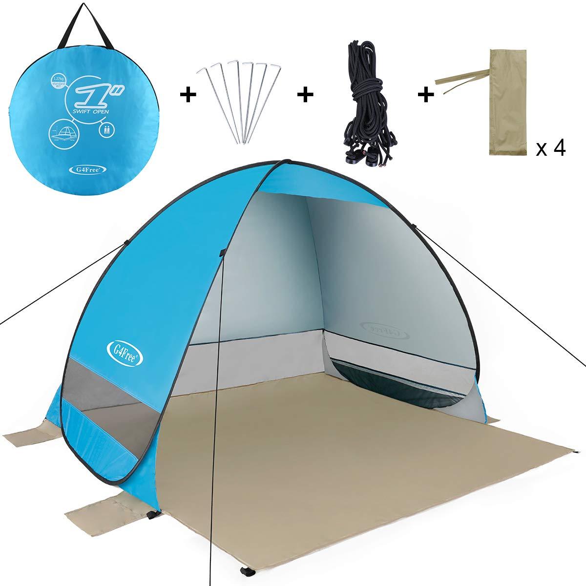 G4Free アウトドア自動ポップアップインスタントポータブルカバナビーチテント 2~3人用 釣りアンチUVビーチテント ビーチシェルター  ブルー-2 B07MSD439S