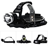 AGM 1600LM CREE XM-L T6 LED Headlight Head Torch with 18650 Rechargeable Batteries + USB Charging Cable