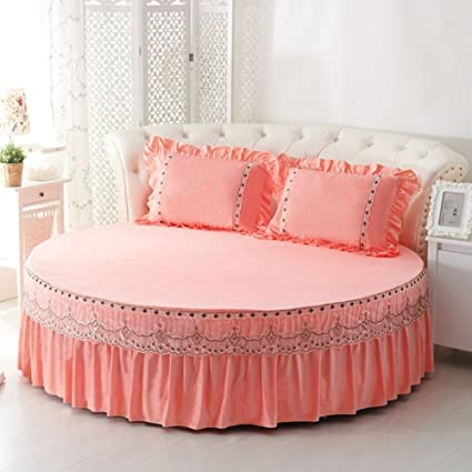 Round Bed Sheets,Crystal Velvet Warm Bedspreads Soft Bed Cover King V  Diameter220cm(