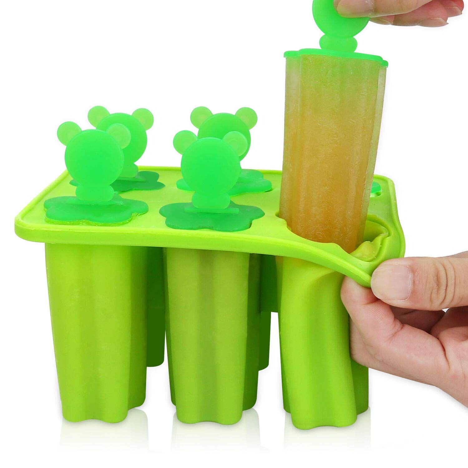 Popsicle Molds - Silicone Ice Pop Molds Set of 6 Easy Release Popsicle BPA Free FDA Approved Ice Pop Maker(Green)