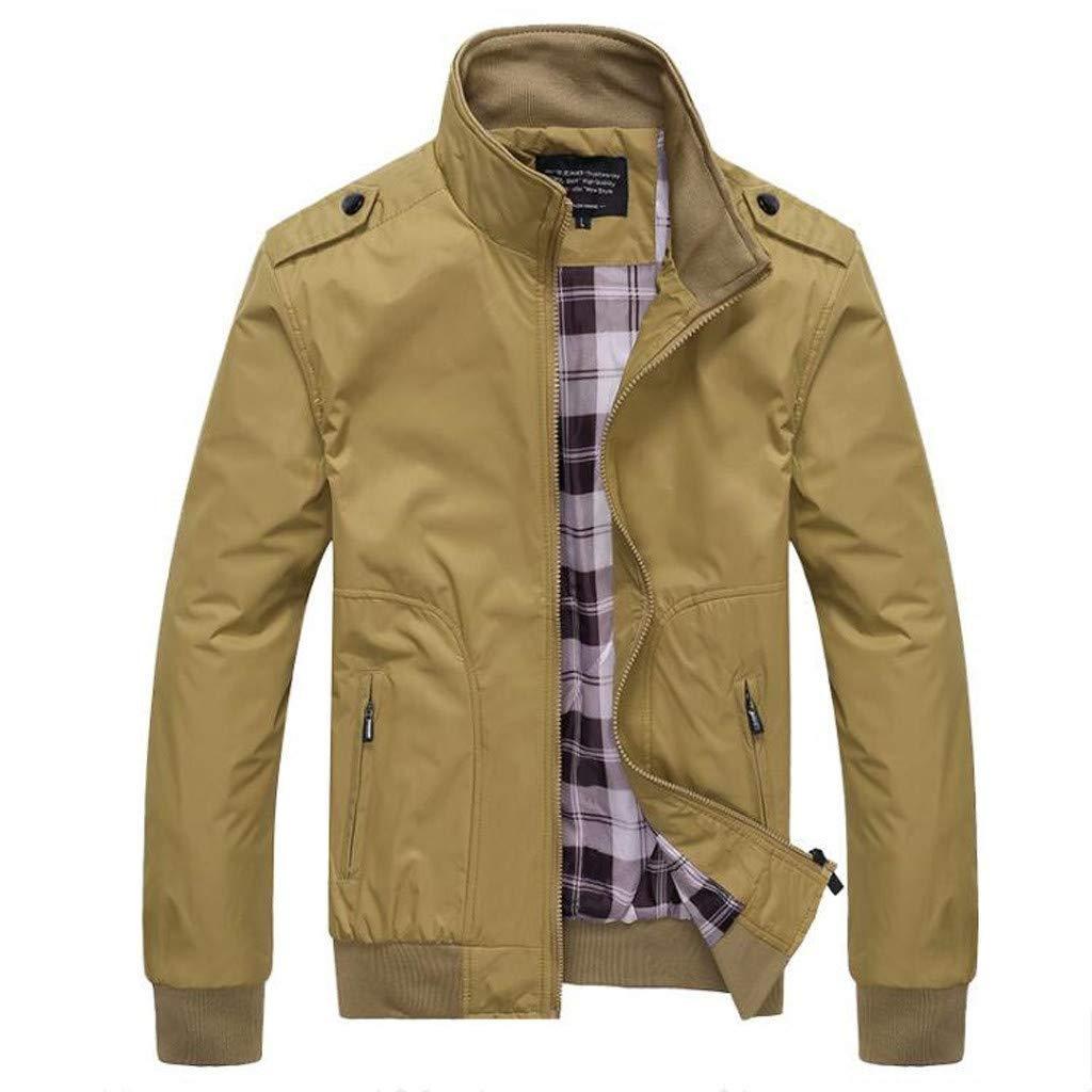 Men's Long Sleeve Zipper Jacket,Clearance!! Males Pockets Coat Plus Size Slim Fit Solid Baseball Outwear by cobcob men's Coat