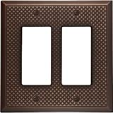 Questech Pyramid Decorative Metal Composite Switch Plate/Wall Plate/Outlet Cover (Double Decorator, Oil Rubbed Bronze)