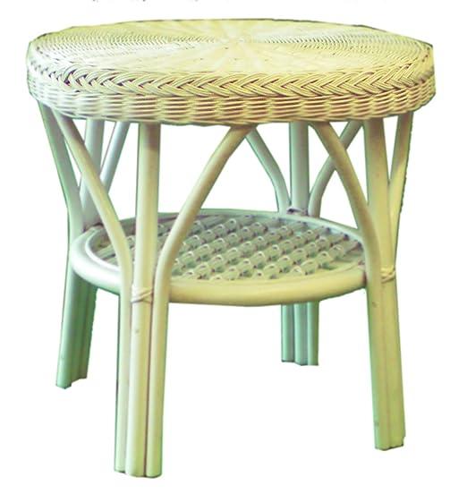 Blanco de mimbre mesa de café: Amazon.es: Jardín