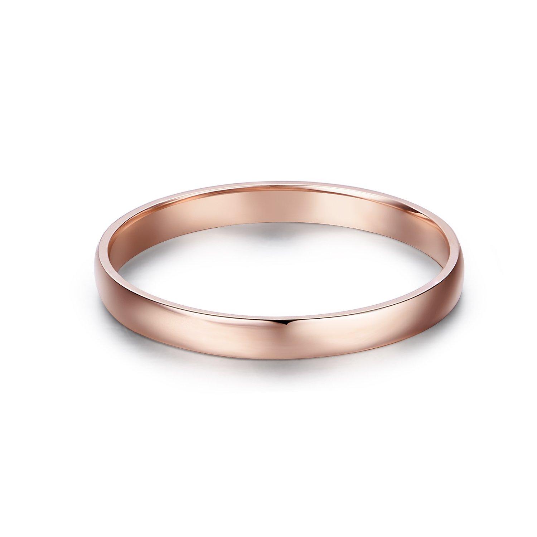 14k Gold 2mm Light Comfort Fit Classic Plain Wedding Band (rose-gold, 5)