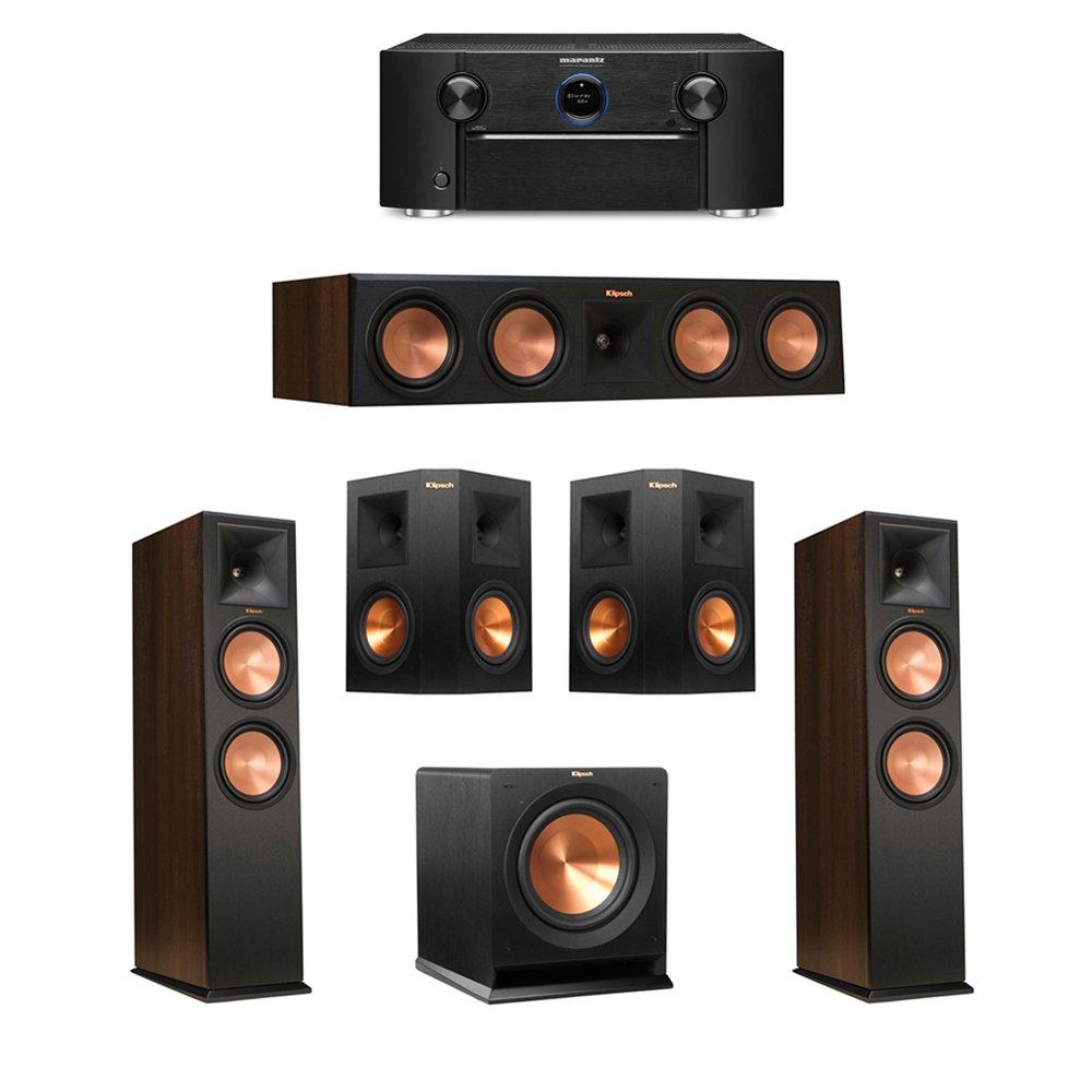 Klipsch 5.1 Walnut System with 2 RP-280F Tower Speakers, 1 RP-450C, 2 Klipsch RP-250S Ebony Surround Speakers, 1 Klipsch R-110SW Subwoofer, 1 Marantz SR7011 A/V Receiver