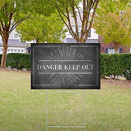 Danger Keep Out 27x18 Chalk Burst Double-Sided Weather-Resistant Yard Sign 5-Pack CGSignLab