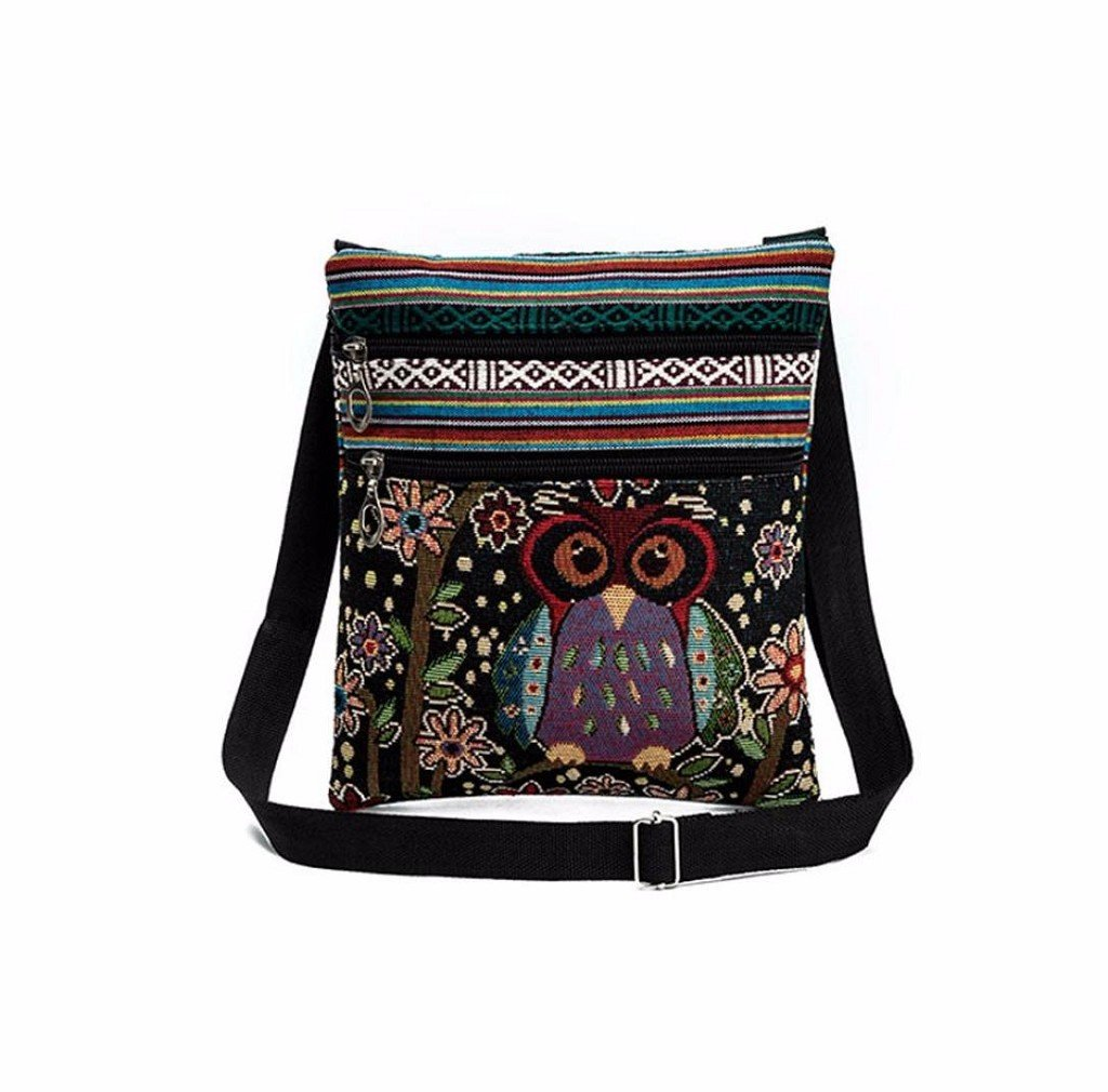Embroidered Owl Tote Women Handbags Postman Package (M, A)