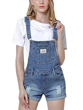 wähle das Neueste näher an neueste trends von 2019 Beautisun Löcher Kurzes Latzhose Damen Jeans-Latzhose im ...