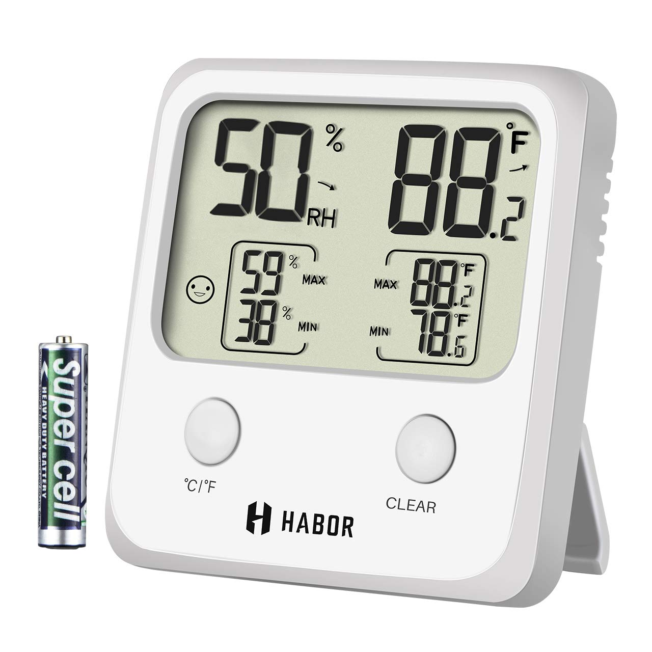 Habor Upgraded Indoor Thermometer, Digital Indoor Hygrometer,Large Size Temperature Humidity Monitor High Accuracy Thermometer Gauge Indicator Home Office Greenhouse, White (3.3 X 3.2 Inch) by Habor