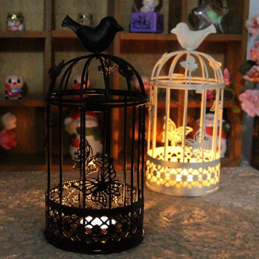Maymei black lanterns decorative black candlesticks Large Birdcage Candlestick,Creative Metal Crafts Candle Holder for Wedding Party Decoration cool