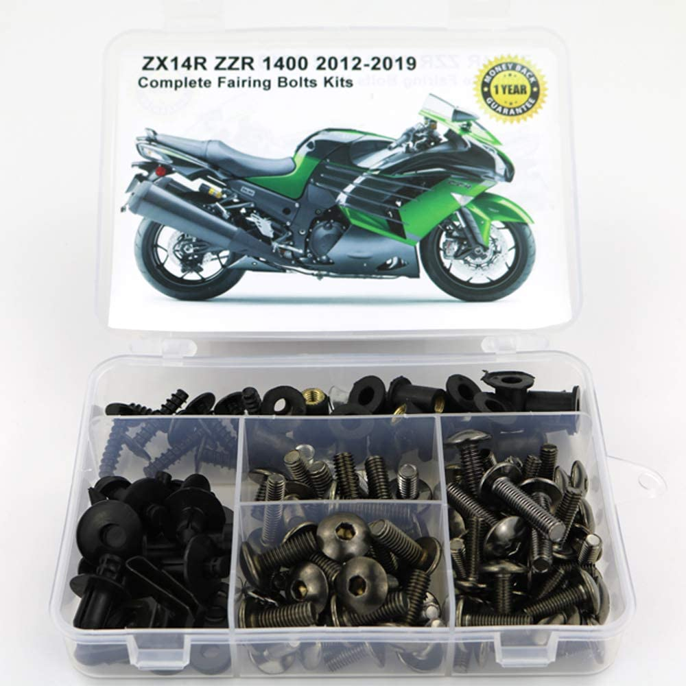 Mounting Kits Washers//Nuts//Fastenings//Clips//Grommets for KAWASAKI ZX-14R ZZR 1400 2012 2013 2014 2015 2016 2017 2018 2019 Xitomer Full Sets Fairing Bolts Kits titanium