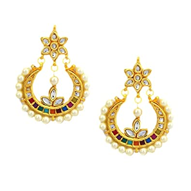 77a89bf90 Buy Gehnoor High Quality Artificial Navratna Multicolor Kundan   Pearl  Chandbali Earrings ( Fashion Jewellery ) Online at Low Prices in India