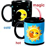 Color Changing Thermometer Heat Changing Mug Magic Sensitive Porcelain Coffee Cup - 10 OZ (Moon)