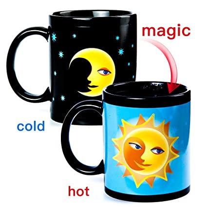 Vopie Color Changing Thermometer Heat Changing Mug Magic Sensitive  Porcelain Coffee Cup   10 OZ (