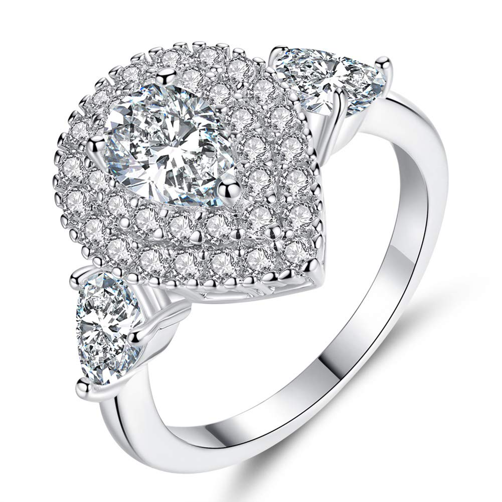 Slendima Luxury Shiny Zircon Inlaid Wedding Band Engagement Ring Women Fashion Jewelry Gift Silver US 6